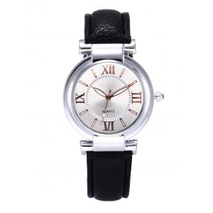 Roman Numeral Faux Leather Strap Wrist Watch - Black