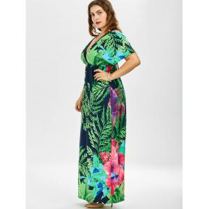 Tropical Print Plus Size Floor Length Dress - GREEN 3XL