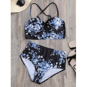 Floral High Waist Underwire Bikini Swimsuit with Push Up Bra