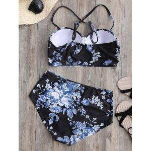 Floral High Waist Underwire Bikini Swimsuit with Push Up Bra -