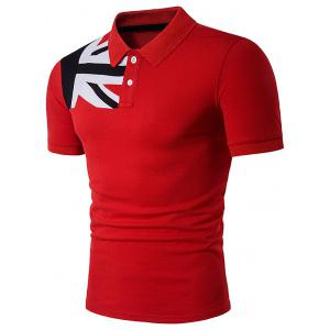 Short Sleeve Color Block Flag Panel Polo T-Shirt