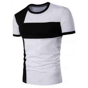 Color Block Cross Panel Short Sleeve T-Shirt - White - 2xl