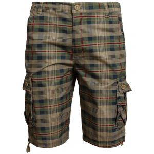 Zip Fly Pockets Plaid Shorts