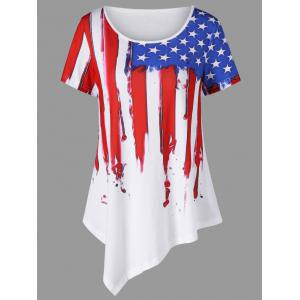Distressed American Flag Painting Asymmetric T-Shirt
