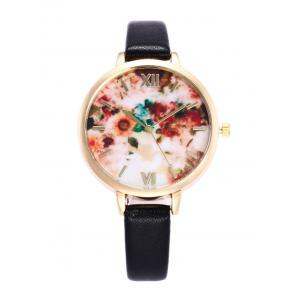 Flower Printed Roman Numeral Faux Leather Quartz Watch