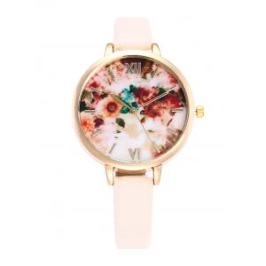 Flower Printed Roman Numeral Faux Leather Quartz Watch - Warm White Light