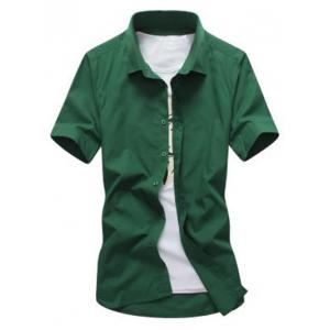 Turn Down Collar Short Sleeve Shirt