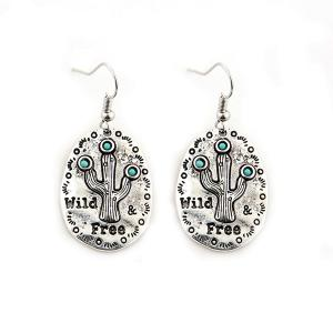 Cactus Engraved Bohemian Earrings - Silver