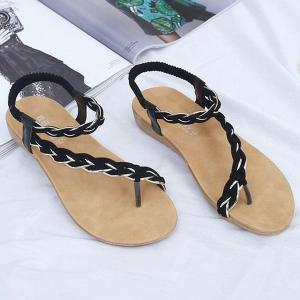 Weaving Elastic Band Sandals - BLACK 40