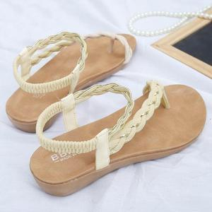 Weaving Elastic Band Sandals - OFF WHITE 39