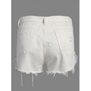Floral Embroidered Frayed Denim High Rise Shorts - WHITE XL