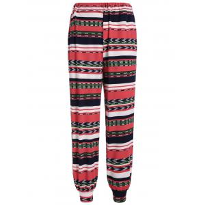 High Rise Striped Geometric Print Pants
