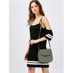 Spaghetti Strap Mini Cold Shoulder Dress - BLACK M