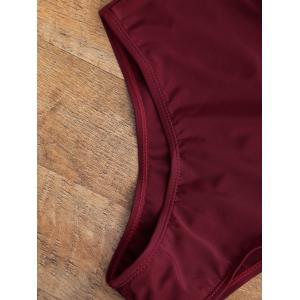 Ruffle Halter Plunge Neck Backless Swimsuit - BURGUNDY L