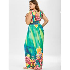 Floral Long Maxi Beach Dress for Plus Size - MULTI 5XL