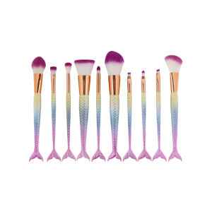 MAANGE 10 Pcs Ombre Rainbow Mermaid Makeup Brushes Set - Colorful - S