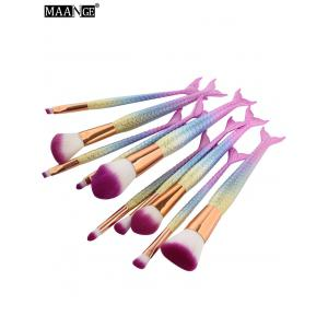 MAANGE 10 Pcs Ombre Rainbow Mermaid Makeup Brushes Set - COLORFUL