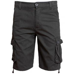 Zip Fly Flap Pockets Shorts - Deep Gray - 36