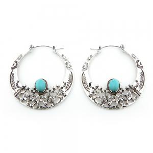 Hollow Out Turquoise Big Hoop Earrings - Silver