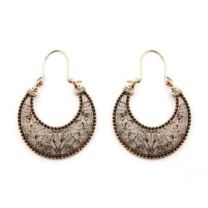 Hollow Out Big Moon Drop Earrings - Golden