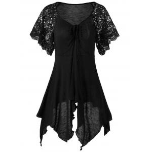Plus Size Self Tie Flowy Handkerchief Top With Sleeves - Black - 2xl