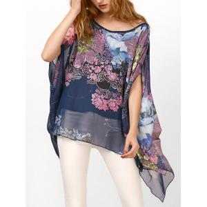 Chiffon Batwing Cape Asymmetrical Floral Blouse - Deep Blue - One Size