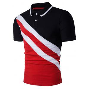 Color Block Oblique Stripe Panel Polo T-Shirt