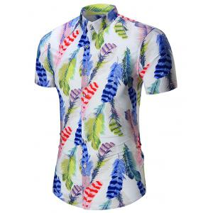 Short Sleeve Feathers Printed Hawaiian Shirt