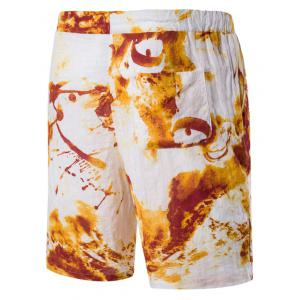 Blends Tie Dye Print Drawstring Linen Board Shorts -