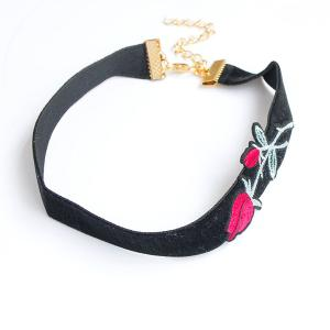 Faux Suede Rose Embroidered Choker Necklace - BLACK