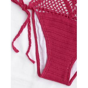 Crochet Halter One Piece Swimsuit - RED L