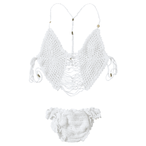 Stylish Cami Tassels Crocheted Women's Bikini Set -