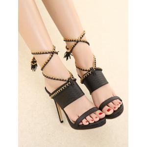 Tassels Chains Lace Up Sandals -