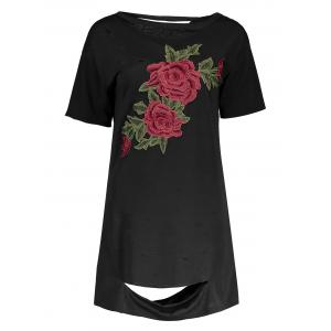 Floral Embroidered Distressed T-Shirt Beach Dress - BLACK M