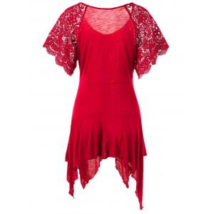 Plus Size Self Tie Flowy Handkerchief Top With Sleeves - RED XL