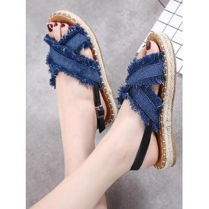 Buckle Strap Denim Sandals -