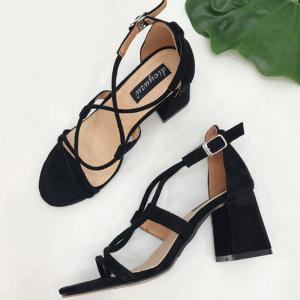Cross Strap Suede Chunky Heel Sandals -