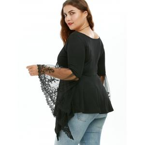 Flare Sleeve Handkerchief Plus Size Tunic Top - BLACK 2XL