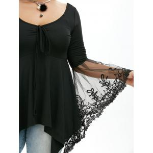 Flare Sleeve Handkerchief Plus Size Tunic Top - BLACK 5XL