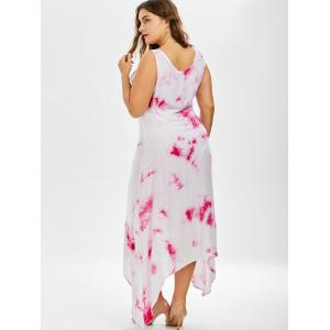 Plus Size Asymmetric Casual Going Out Tie Dye Midi Dress -