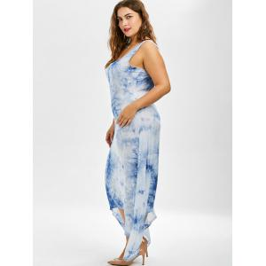 Plus Size Asymmetric Casual Going Out Tie Dye Midi Dress - BLUE 2XL