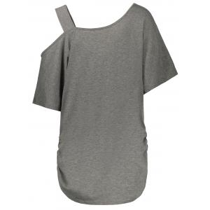 Cold Shoulder Butterfly Print Plus Size Top - GRAY XL