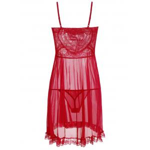 Ruffles Mesh See Thru Cami Babydoll - RED ONE SIZE