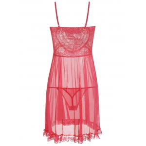 Ruffles Mesh See Thru Cami Babydoll - WATERMELON RED ONE SIZE