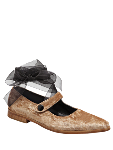 New Velvet Tie Up Ribbon Flat Shoes - 37 APRICOT Mobile