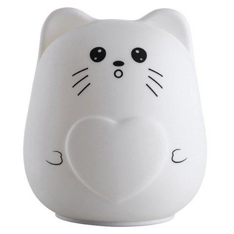 Trendy Color Change USB Charge Cartoon Cat Silicone LED Night Light - WHITE  Mobile