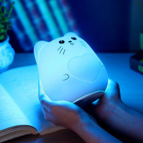Fancy Color Change USB Charge Cartoon Cat Silicone LED Night Light - WHITE  Mobile