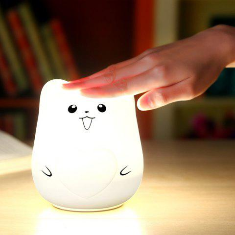 Trendy Color Change USB Charge Cartoon Pet Silicone LED Night Light - WHITE  Mobile