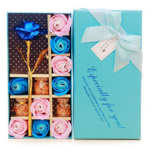 Trendy Mother's Day Gift Artificial Plated Rose with Soap Flowers Gift Box BLUE