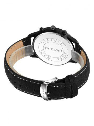New Faux Leather Strap Number Quartz Wrist Watch - WHITE AND BLACK  Mobile